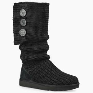 UGG Black Classic Knit Cardy Sweater Boots Sz 10